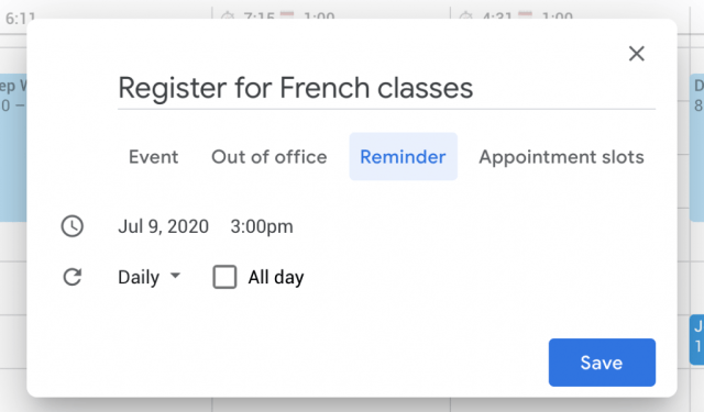 How to set a reminder for an event in Google Calendar