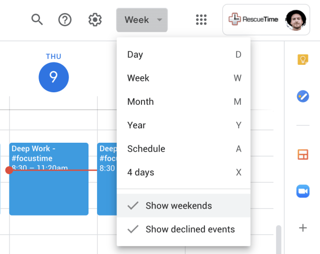 How to get Google Calendar to only show the workweek