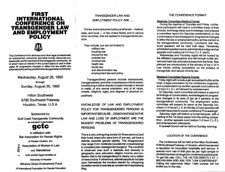 1992: International Conference on Transgender Law and