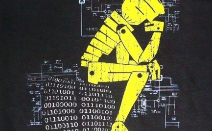 Image of a cartoon-esque robot, in yellow, taking the pose of the iconic 'Thinker', whilst sitting on a binary code chair and with circuit diagrams in the background.