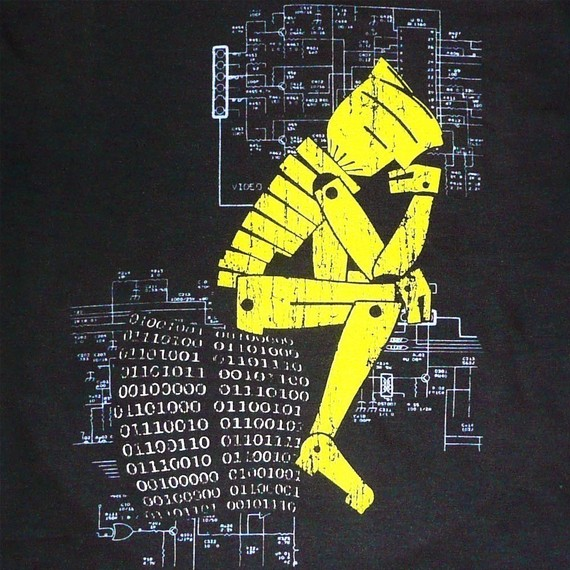 Photograph of a T-shirt print, the robot thinker.