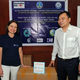 Ninety-five water filtration systems were donated to schools, kindergartens, clinics and poor households in 8 communes of Quang Binh and Quang Tri provinces, who were affected by the historic flood in Central Vietnam in October 2020. This was possible thanks to UTS project's quick action by re-designing the water filtration systems to turn flood water into safe drinking water.