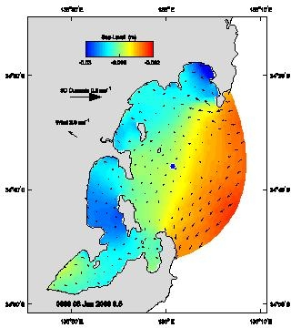 Sea level and surface currents during the dodge tide, 8th January 2006.