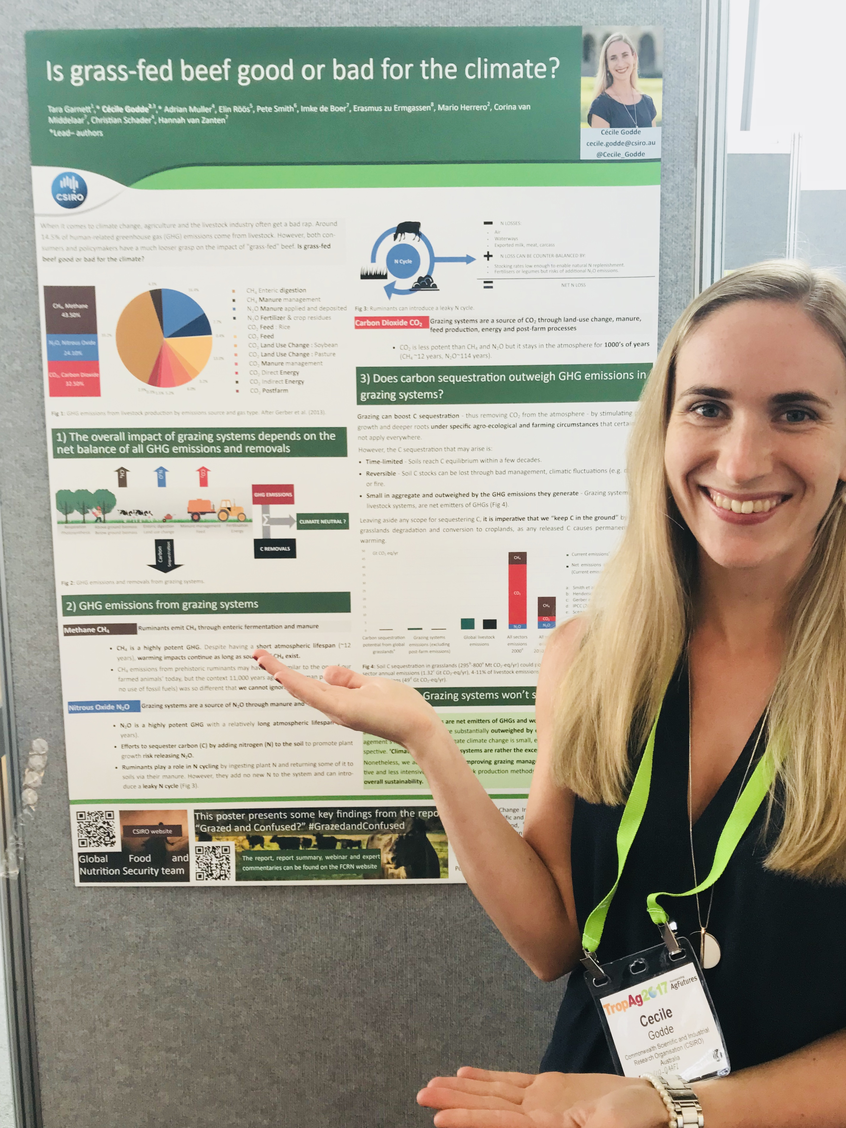 Cécile Godde with her poster at TropAg2017
