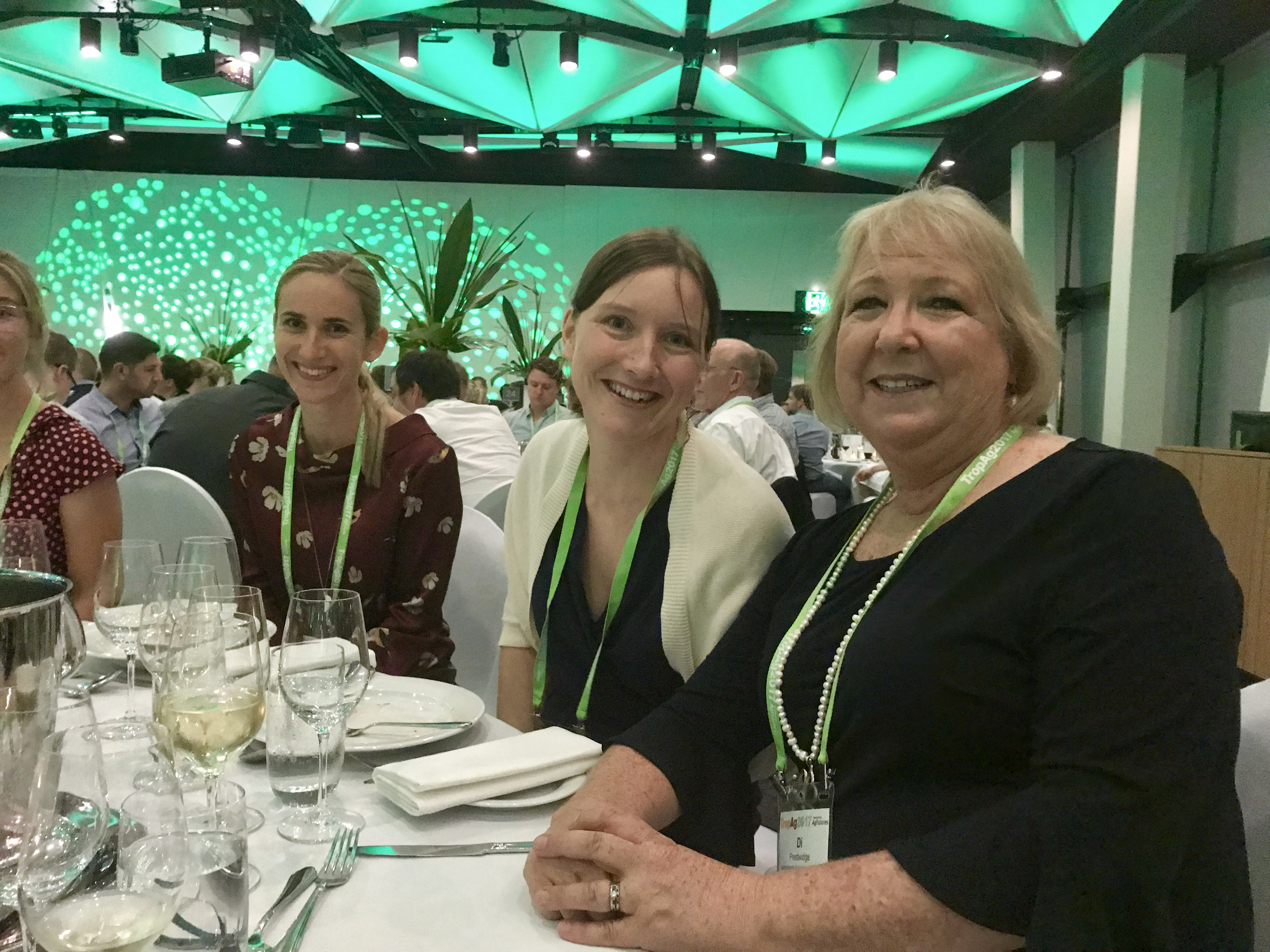 Di Prestwidge, Katharina Waha, and Cécile Godde at the TropAg2017 conference dinner