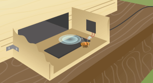 This image illustrates how the technology works. A bee with a tag is leaving the hive and her presence is detected by a reader.