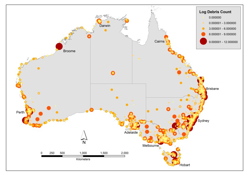Map of debris hotspots based on all survey data from CSIRO, CUA and KAB. Note higher debris loads in urban cities around Australia's coastline. Data are reported as the log base 10 of the total amount of debris per 1000m2.