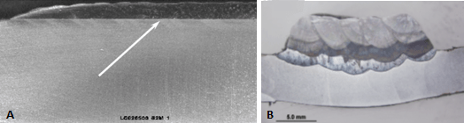Two images of test samples highlighting dilation and defects. Image A indicates minimal damage and image B indicates extensive dilution