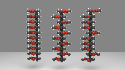 Isotactic (left), syndiotactic (center) and atactic (right) configurations.