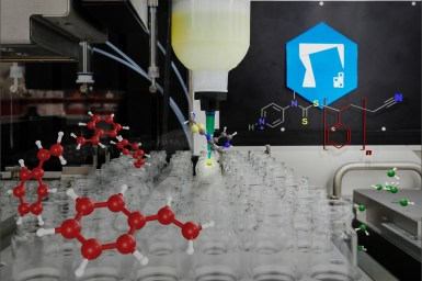 3D molecules floating around vials inside synthesis robot