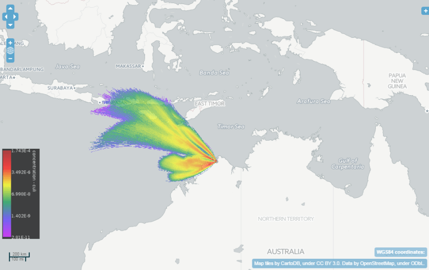 Map of dispersion of mosquito by wind