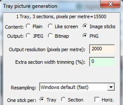 Picture generation options screen