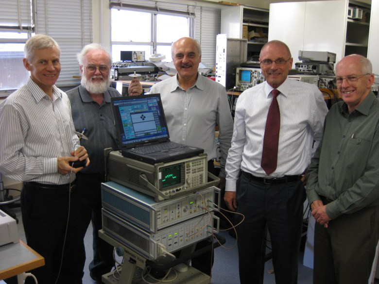 CSIRO's WLAN team with the WLAN testbed, May 2012. From left, Terry Percival, John Deane, Diet Ostry, Graham Daniels and John O'Sullivan.