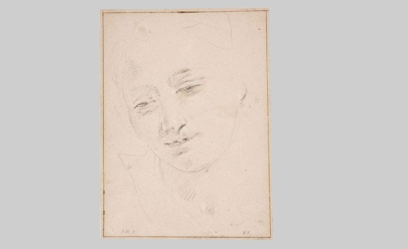 Giovanni Battista Tiepolo, Study of a Female Head (recto), c. 1730, black chalk with white chalk highlights, 28.5cm x 21cm, Finnish National Gallery / Sinebrychoff Art Museum. Photo: Finnish National Gallery / Jenni Nurminen