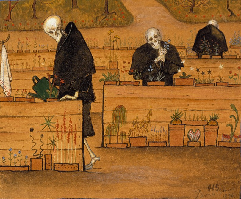 Hugo Simberg, Garden of Death 1896, watercolour and gouache on paper, mounted on etching paper, 15.8 x 17.5cm, Photo: Finnish National Gallery / Jouko Könönen