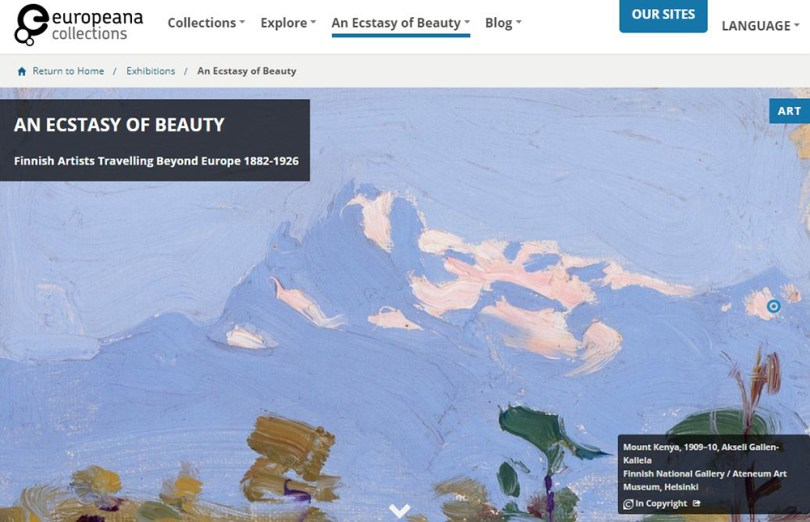 An Ecstacy of Beauty. Finnish Artists Travelling Beyond Europe 1882-1926. Online exhibition in Europeana. Screen capture of the front page.