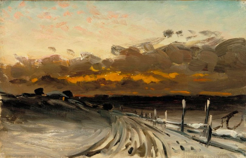 Fanny Churberg, Winter Landscape, Sunset, c. 1878, oil on canvas, 26,00cm x 40,50cm Gift from Arvid Sourander. Finnish National Gallery / Ateneum Art Museum Photo: Finnish National Gallery / Hannu Aaltonen
