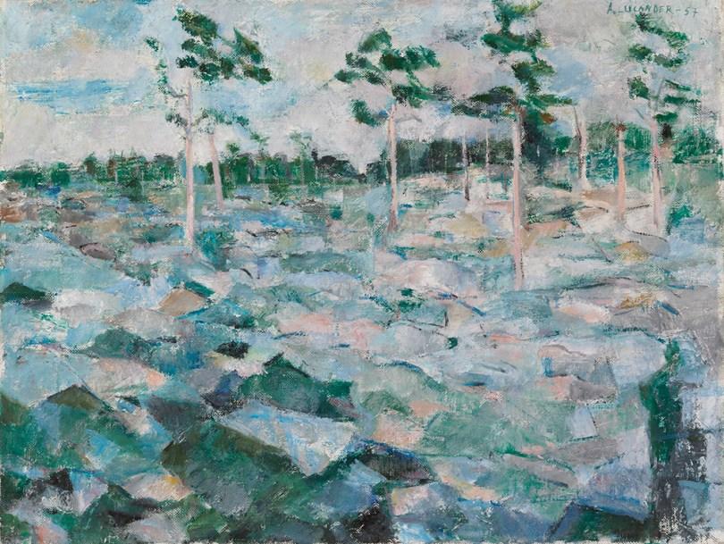 Anitra Lucander, Stony Moor, 1957, oil on canvas, 41.5cm × 54.5cm Ester and Jalo Sihtola Fine Arts Foundation Donation, Finnish National Gallery / Ateneum Art Museum Photo: Finnish National Gallery / Hannu Pakarinen