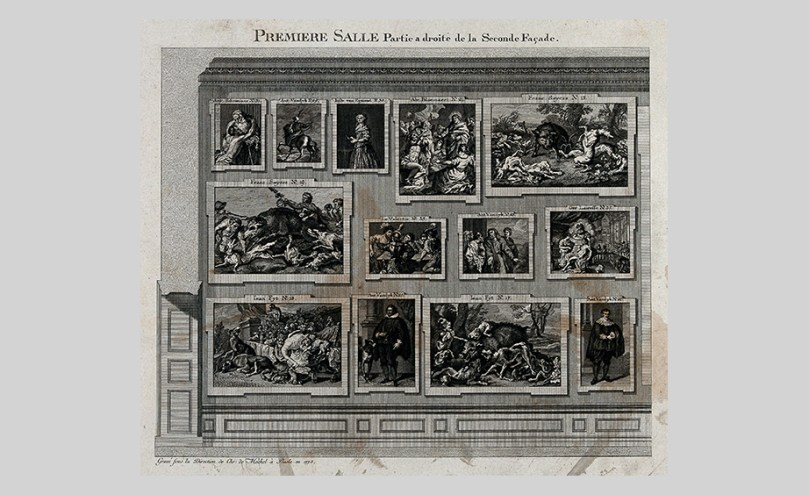 Christian von Mechel, The Electoral Picture Gallery at Düsseldorf: Paintings on One of the Walls in the First Gallery, 1775, engraving, 21.3cm x 25.8cm Wellcome Library, London Photo: Wellcome Collection. CC BY 4.0