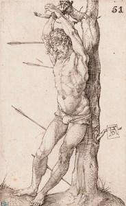 Albrecht Dürer, St Sebastian Bound to the Tree, 1500–02, engraving, 11.5cm x 7.1cm Antell Collections, Finnish National Gallery / Sinebrychoff Art Museum Photo: Finnish National Gallery / Hannu Pakarinen