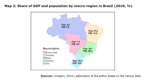 Map 2: Share of GDP and population by macro-region in Brazil (2010, %)