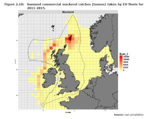 Figure 2.10: Summed commercial mackerel catches (tonnes) taken by EU fleets for 2011-2015.