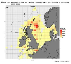 Figure 2.7: Commercial herring catches (tonnes) taken by EU fleets as sum over 2011-2015.