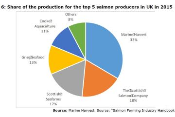 Figure 6: Share of the production for the top 5 salmon producers in UK in 2015