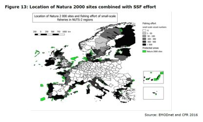 Figure 13: Location of Natura 2000 sites combined with SSF effort