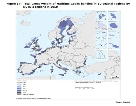 Figure 17: Total Gross Weight of Maritime Goods handled in EU coastal regions by NUTS-3 regions in 2010