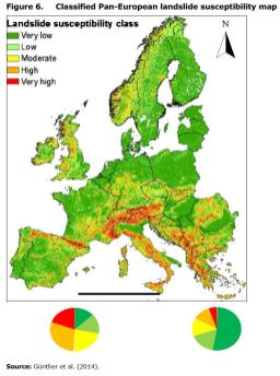 Figure 6. Classified Pan-European landslide susceptibility map
