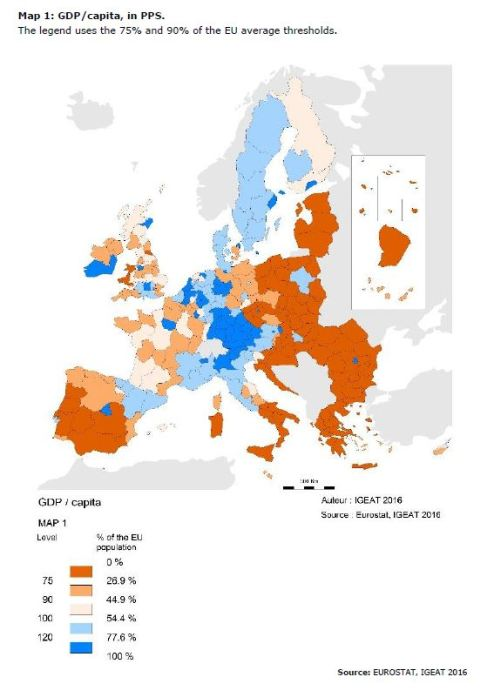 Map 1: GDP/capita, in PPS.