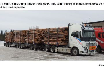 Photo 1: ETT vehicle (including timber truck, dolly, link, semi-trailer) 30 meters long, GVW 90 tons, 66-ton load capacity.