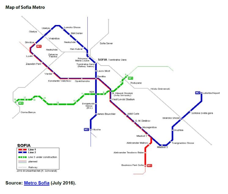 Map of Sofia Metro