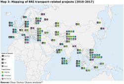 Map 3: Mapping of BRI transport-related projects (2010-2017)
