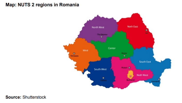 Map: NUTS 2 regions in Romania