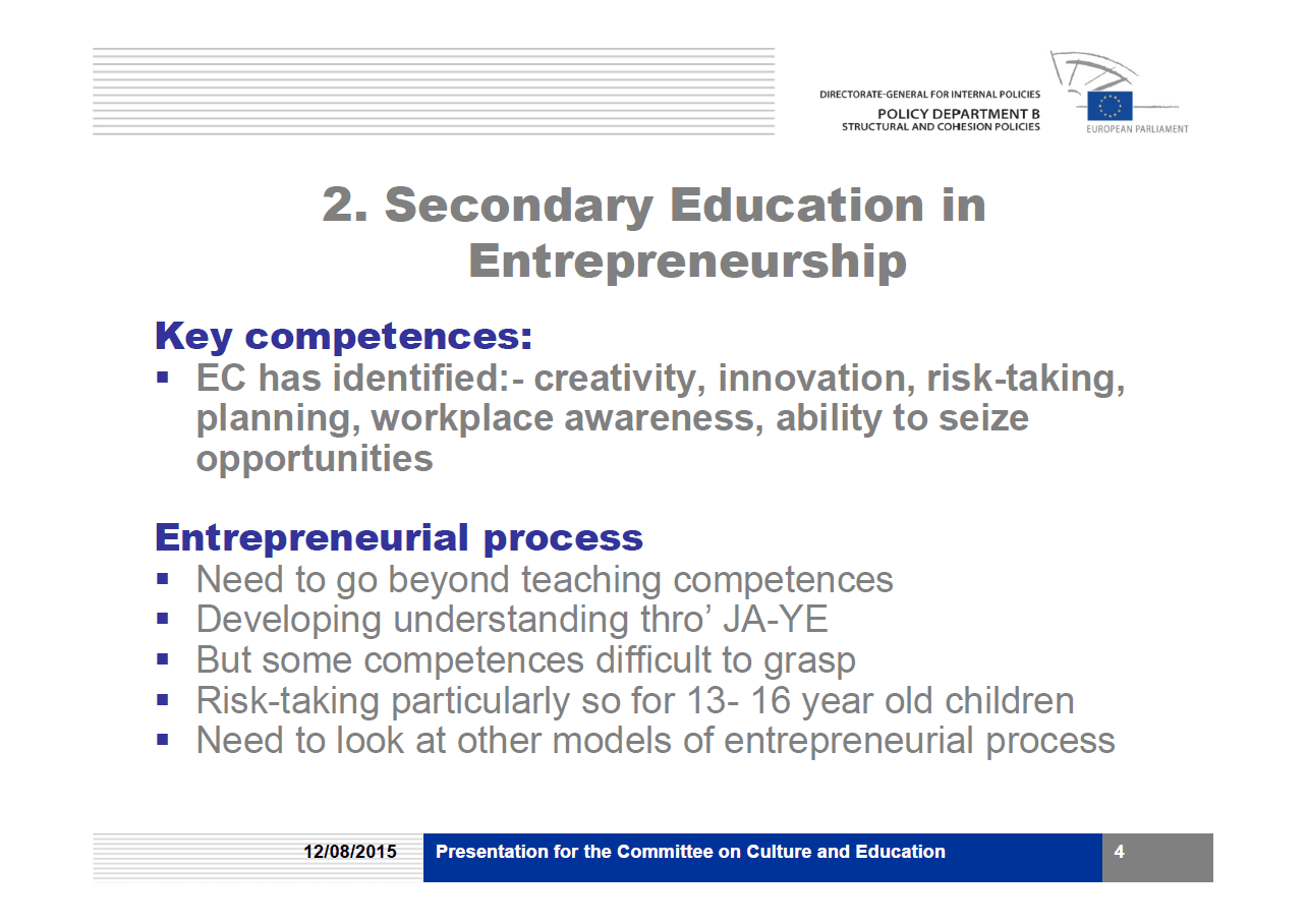 Youth Education & Entrepreneurship – Research4Committees