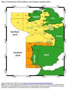 Map 2: Delimitation of the Northern and Southern sardine stocks