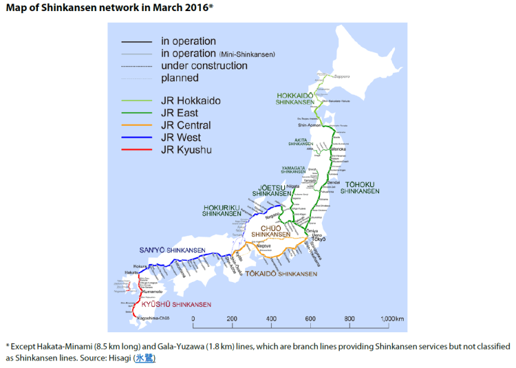 Map of Shinkansen network in March 2016