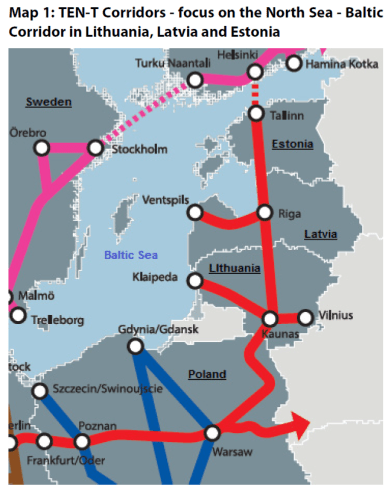 Map 1: TEN-T Corridors - focus on the North Sea - Baltic Corridor in Lithuania, Latvia and Estonia