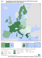 Map 1 EU-expenditure on Direct Aid (total over the years 2007-2014) per hectare utilized agricultural area (UAA) in EUR/ha