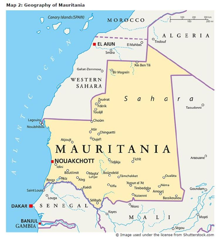 Map 2: Geography of Mauritania
