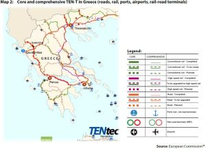 Map 2: Core and comprehensive TEN-T in Greece (roads, rail, ports, airports, rail-road terminals)