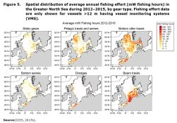 Figure 5. Spatial distribution of average annual fishing effort (mW fishing hours) in the Greater North Sea during 2012–2015, by gear type. Fishing effort data are only shown for vessels >12 m having vessel monitoring systems (VMS).