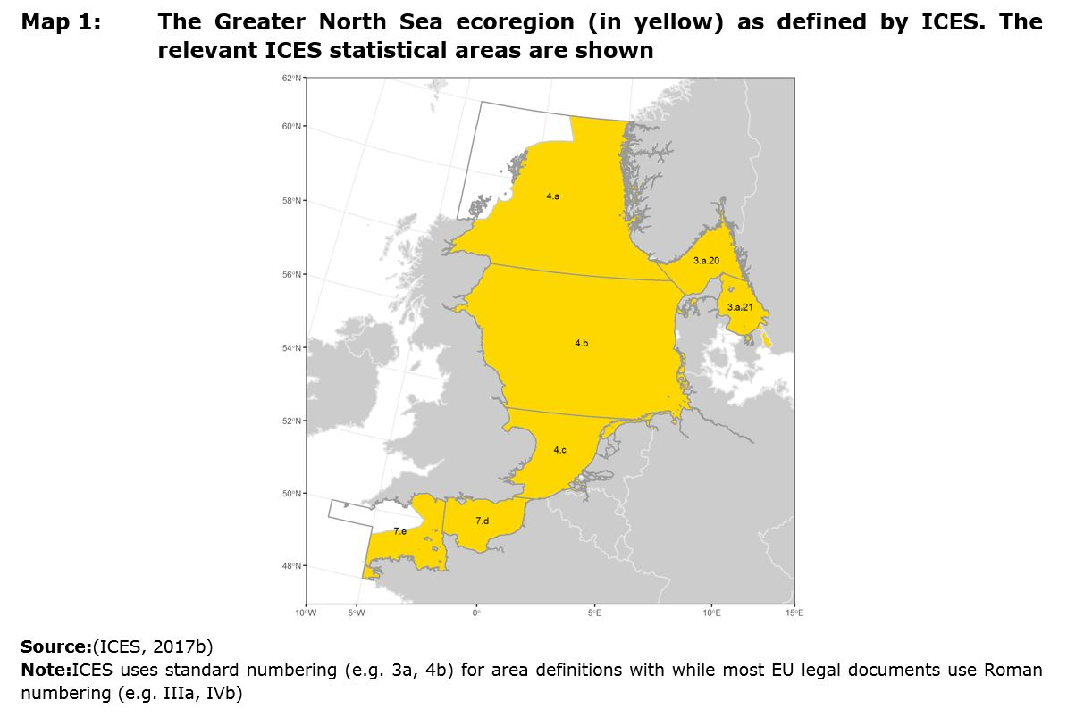 Map 1: The Greater North Sea ecoregion (in yellow) as defined by ICES. The relevant ICES statistical areas are shown