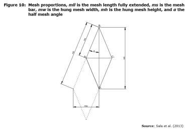 Figure 10: Mesh proportions, mll is the mesh length fully extended, ms is the mesh bar, mw is the hung mesh width, mh is the hung mesh height, and α the half mesh angle