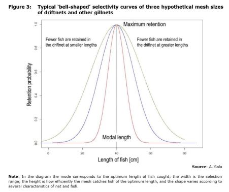 Figure 3: Typical 'bell-shaped' selectivity curves of three hypothetical mesh sizes of driftnets and other gillnets