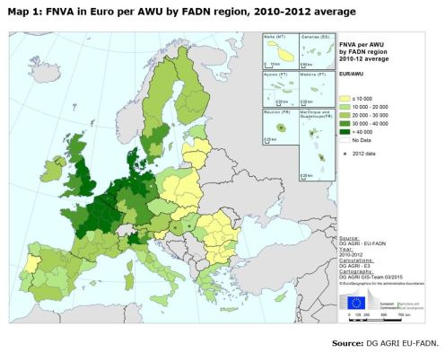 Map 1: FNVA in Euro per AWU by FADN region, 2010-2012 average