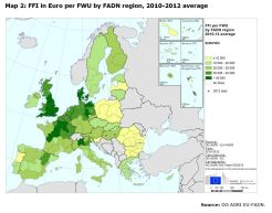 Map 2: FFI in Euro per FWU by FADN region, 2010-2012 average