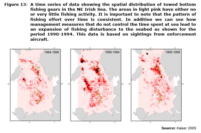 Figure 13: A time series of data showing the spatial distribution of towed bottom fishing gears in the NE Irish Sea. The areas in light pink have either no or very little fishing activity. It is important to note that the pattern of fishing effort over time is consistent. In addition we can see how management measures that do not control the time spent at sea lead to an expansion of fishing disturbance to the seabed as shown for the period 1990-1994. This data is based on sightings from enforcement aircraft.